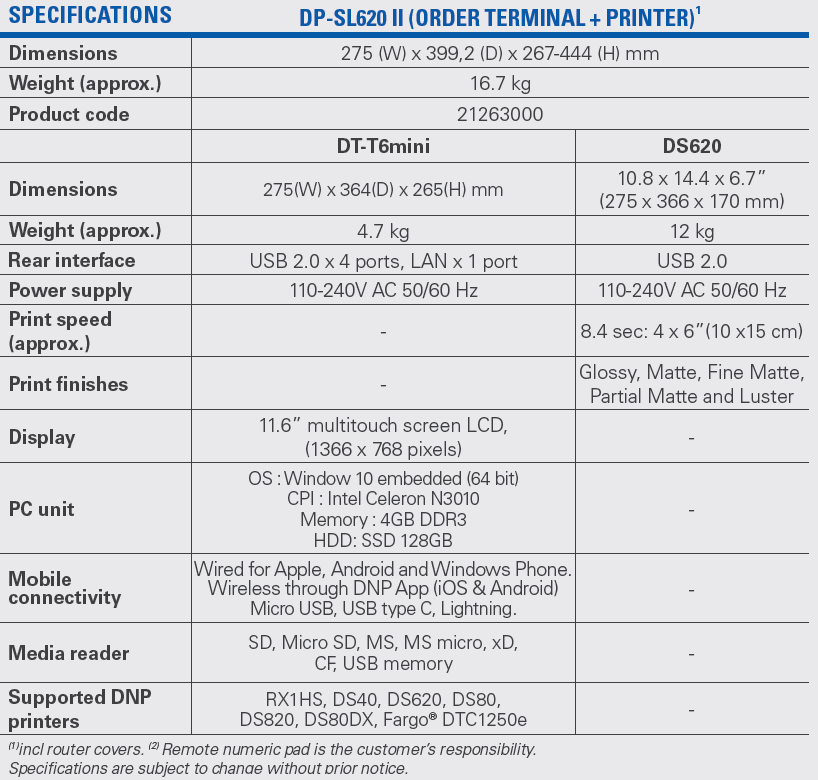 SL620 II Specifications